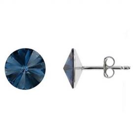 Náušnice rivoli 12 mm vo farbe DENIM BLUE – napichovačky