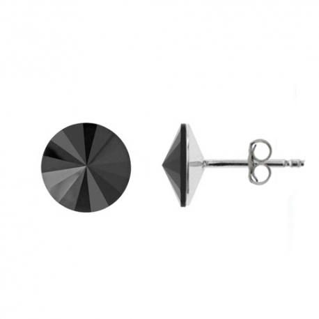 Náušnice Swarovski elements rivoli 12 mm čierne JET – napichovačky