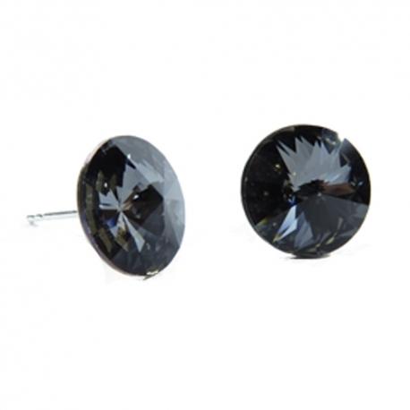 Náušnice Swarovski elements  rivoli 12 mm čierne SILVER NIGHT – napichovačky