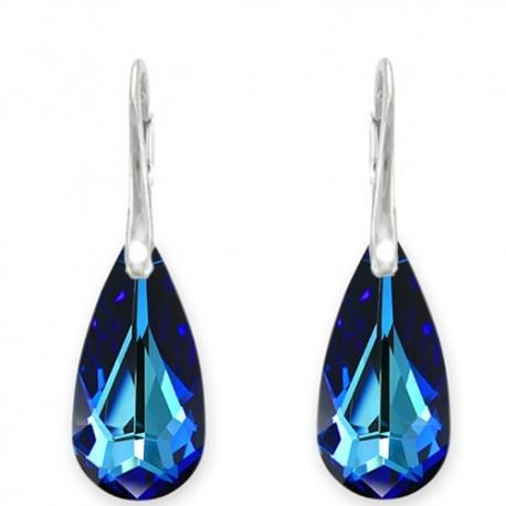 Náušnice  Swarovski elements slzy modré BERMUDE BLUE 24mm