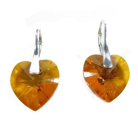Náušnice  Swarovski elements srdce 14,4x14 mm oranžovoružové ASTRALPINK