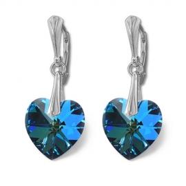 Náušnice srdce bermuda blue