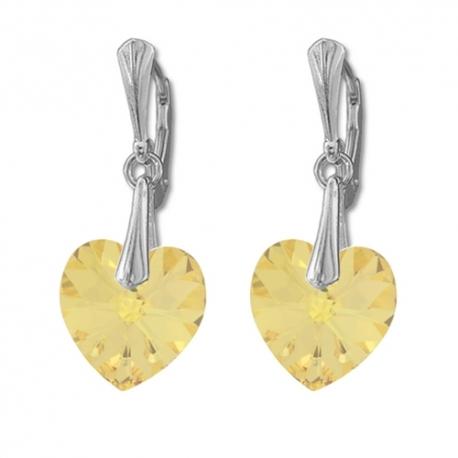 Náušnice Swarovski elements  srdce 14,4x14 mm zlaté GOLDEN SHADOW