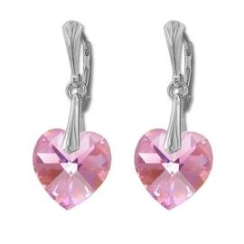 Náušnice  Swarovski elements srdce 14,4x14 mm ružové LIGHT ROSE AB