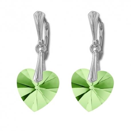 Náušnice Swarovski elements  srdce 14,4x14 mm zelené PERIDOT AB