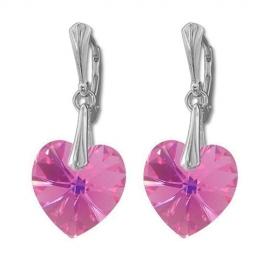 Náušnice Swarovski elements srdce 14,4x14 mm ružové ROSE AB