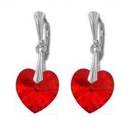 Náušnice Swarovski elements srdce 14,4x14 mm červené SIAM