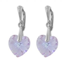Náušnice  Swarovski elements srdce 14,4x14 mm fialové VIOLET AB