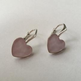 Náušnice srdce  Swarovski elements ružové 10mm