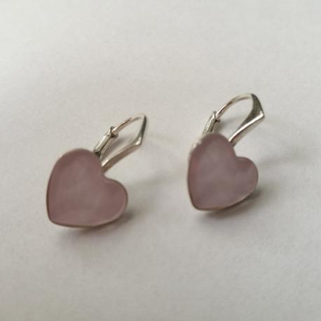 náušnice srdce ružové