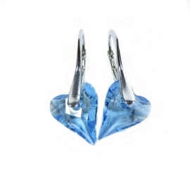 Náušnice srdce Swarovski elements CRAZY modré AQUAMARINE 12mm