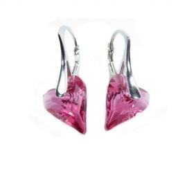 Náušnice srdce Swarovski elements CRAZY ružové ROSE AB 12mm
