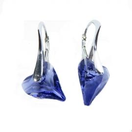 Náušnice srdce Swarovski elements CRAZY fialové TANZANITE 12mm