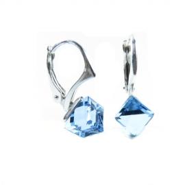 Náušnice Swarovski elements kocky 6 mm modré AQUAMARINE
