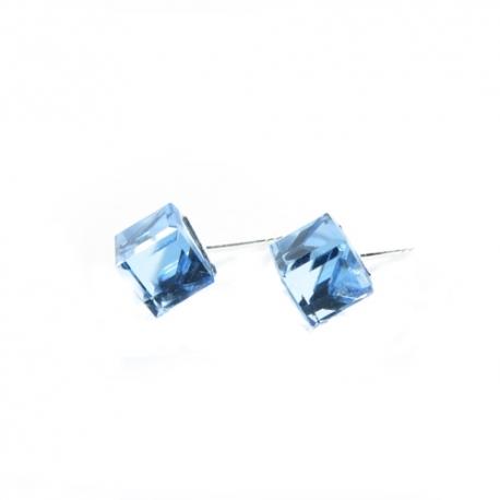 Náušnice Swarovski elements kocky 6 mm modré AQUAMARINE – napichovačky
