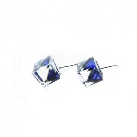 Náušnice swarovski Cube 6 mm vo farbe BERMUDA BLUE – napichovačky