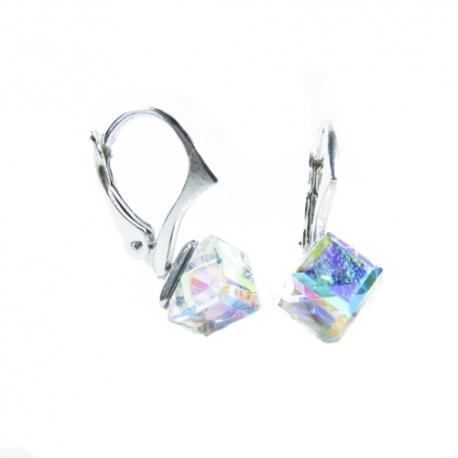 Náušnice swarovski cube 6mm crystal ab f
