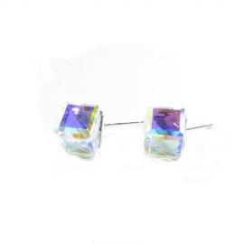 Náušnice swarovski Cube 6 mm vo farbe CRYSTAL AB F – napichovačky