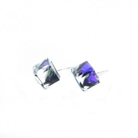Náušnice Swarovski elements kocky 6 mm fialové HELIOTROPE – napichovačky