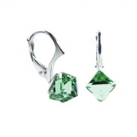 Náušnice Swarovski elements  kocky 6 mm zelené PERIDOT