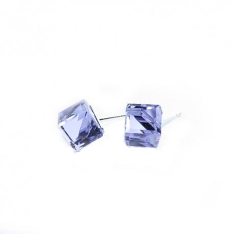 Náušnice swarovski Cube 6 mm vo farbe VIOLET – napichovačky