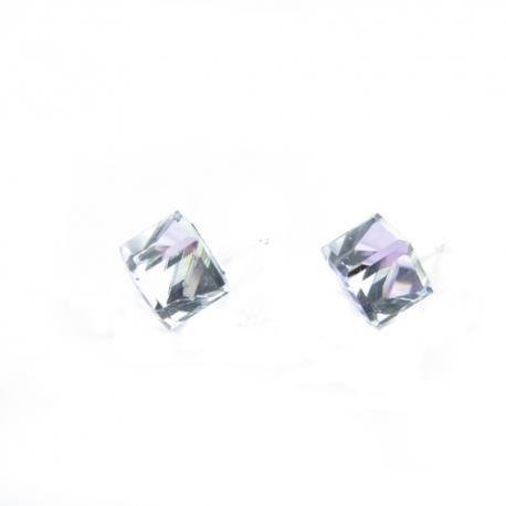Náušnice Swarovski elements kocky 6 mm fialové Vitrail Light – napichovačky