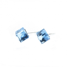Náušnice swarovski elements kocky 8 mm modré AQUAMARINE – napichovačky