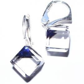 Náušnice swarovski Cube 8 mm vo farbe BERMUDE BLUE