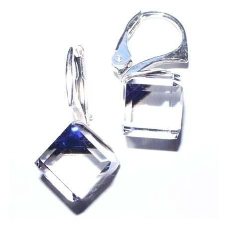 Strieborné náušnice kocky  Swarovski elements 8 mm modré BERMUDE BLUE