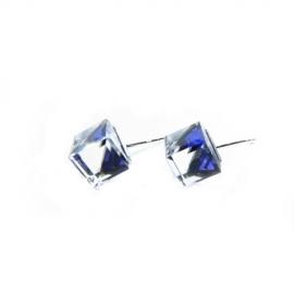 Náušnice swarovski Cube 8 mm vo farbe BERMUDE BLUE – napichovačky