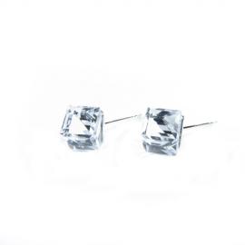 Náušnice swarovski elements kocky 8 mm číre CRYSTAL CAL'VZ' – napichovačky