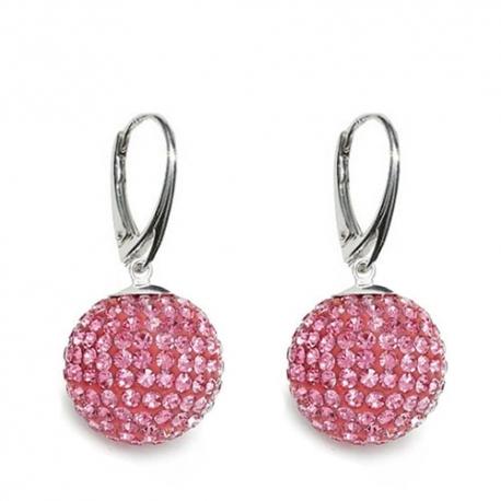 Náušnice Swarovski elements  Discoball 18 mm ružové Light Rose