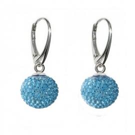 Náušnice Swarovski elements Discoball 8 mm modré Aquamarine