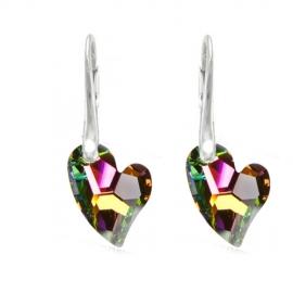 Náušnice Swarovski elements Devoted srdce zelené Crystal Vitrail Medium 17mm