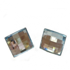Náušnice Swarovski elements štvorec modré AQUAMARINE – napichovacie 12mm