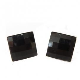 Náušnice Swarovski elements štvorec čierne JET – napichovacie 12mm