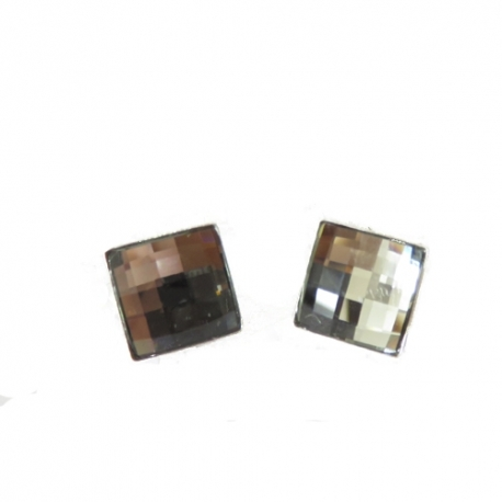 Náušnice Swarovski elements štvorec sivé  SILVER SHADE – napichovacie 10mm