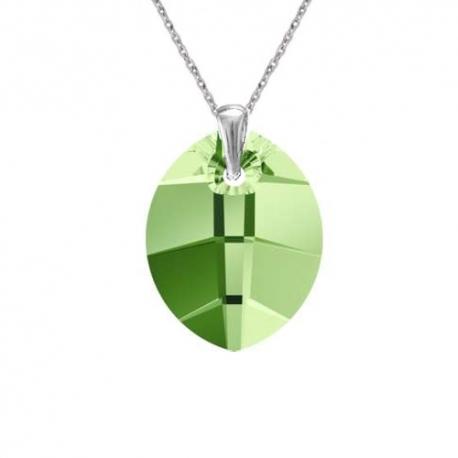 Prívesok Swarovski elements listy zelený PERIDOT 23mm