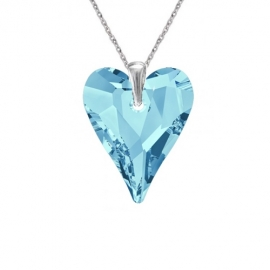 Prívesok srdce Swarovski elements modrý  CRAZY – AQUAMARINE 17mm
