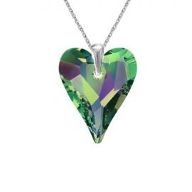 Prívesok srdce Swarovski elements zelený CRAZY – CRYSTAL Vitrail Medium 17mm
