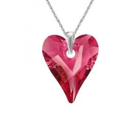 Prívesok srdce Swarovski elements ružový  CRAZY – ROSE AB 17mm