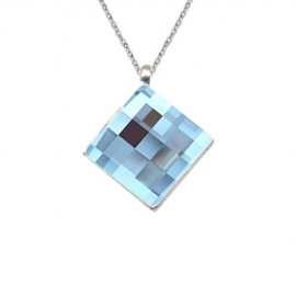 Prívesok Swarovski elements šachovnicový štvorec modrý 12 mm Aquamarine