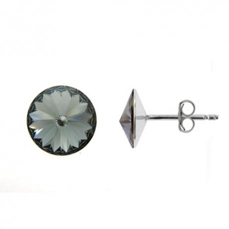 Náušnice Swarovski elements Rivoli 10 mm čierne BLACK DIAMOND – napichovačky
