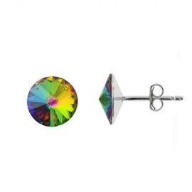 Náušnice Swarovski elements Rivoli 10 mm zelené Crystal Vitrail Medium – napichovačky