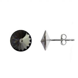 Náušnice Swarovski elements Rivoli 10 mm čierne SILVER NIGHT – napichovačky