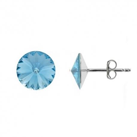 Náušnice Swarovski elements Rivoli 8 mm modré AQUAMARINE – napichovačky