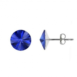 Náušnice Swarovski elements Rivoli 8 mm modré BERMUDA BLUE – napichovačky