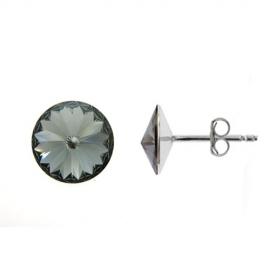 Náušnice Swarovski elements Rivoli 8 mm čierne BLACK DIAMOND – napichovačky