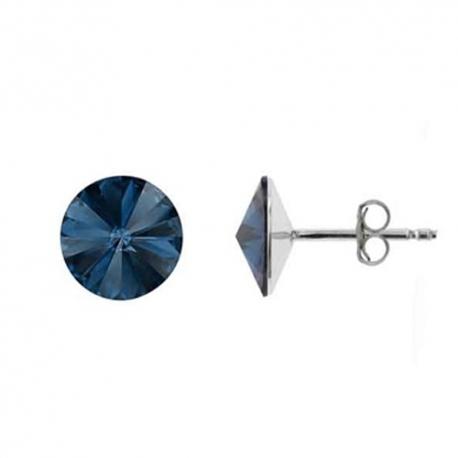 Náušnice Swarovski elements Rivoli 8 mm modré DENIM BLUE – napichovačky
