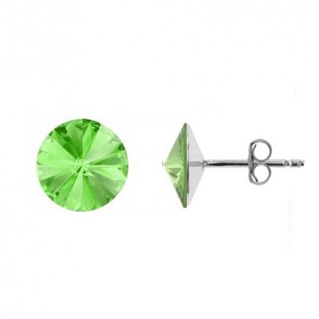 Náušnice Swarovski elements Rivoli 8 mm zelené CHRYSOLITE – napichovačky